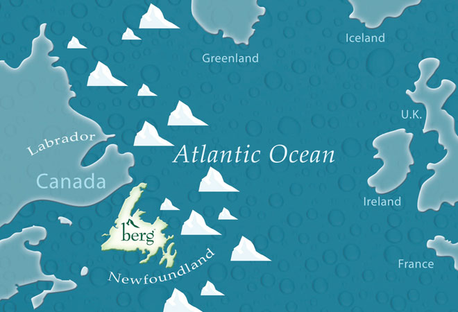 Rota dos Icebergs. (Fonte: Berg) Colheita de Icebergs Colheita de Icebergs iceberg path