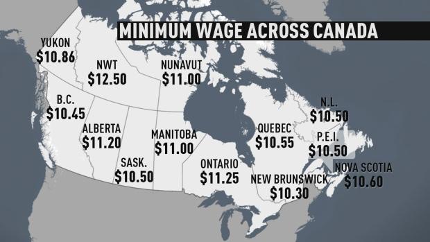 minimum-wage-across-canada  Salário mínimo do Quebec sobe para $ 10,75 a partir de maio e divide opiniões minimum wage across canada