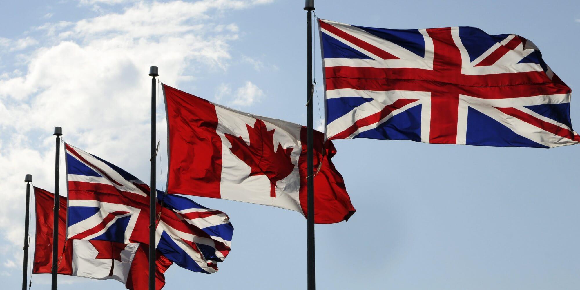 """MJ-CANADA-FLAG-BRITISH-FLAG  Britânicos pesquisam sobre """"Como mudar para o Canadá"""" após votação do """"Brexit"""" MJ CANADA FLAG BRITISH FLAG"""