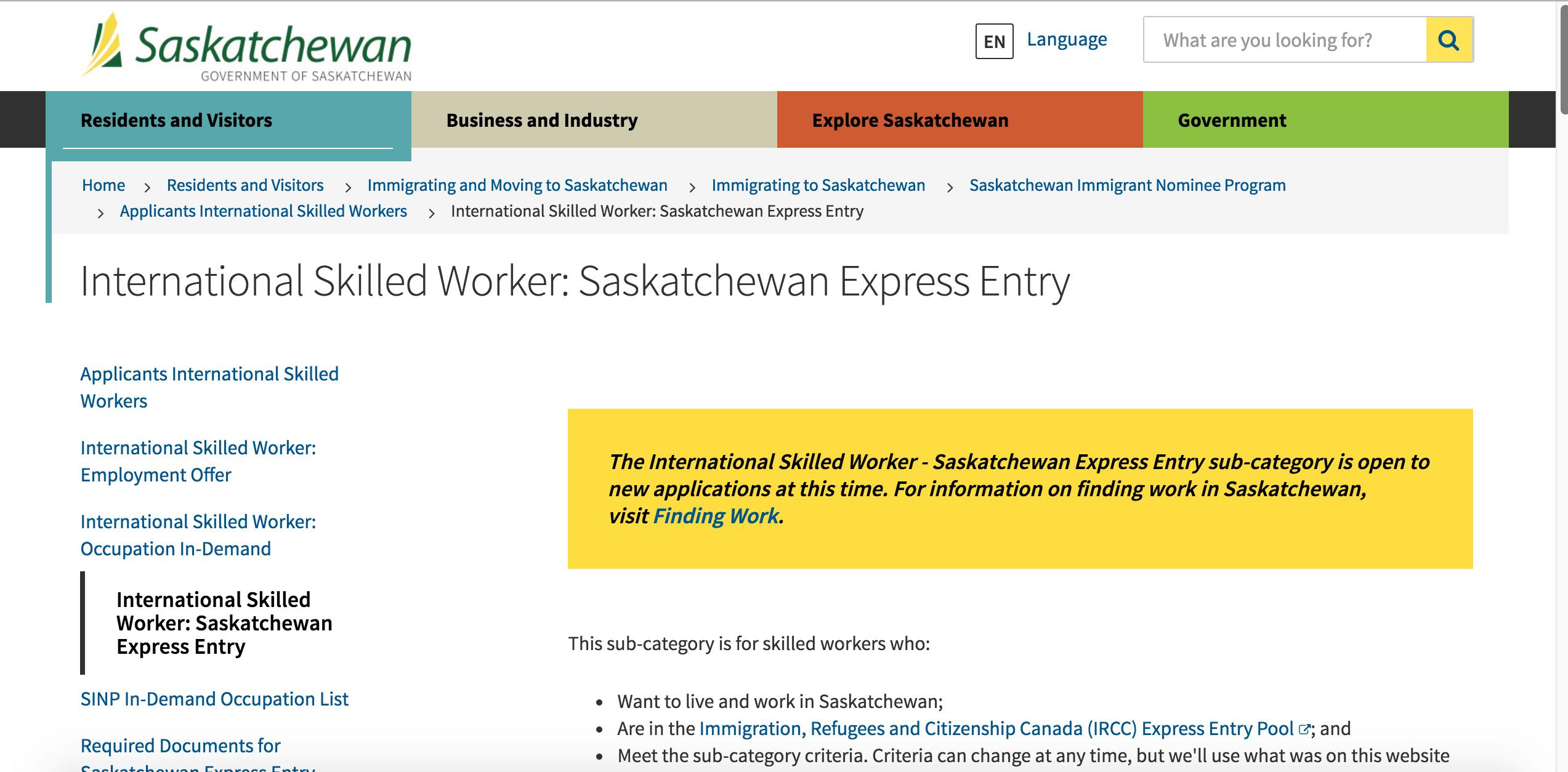 Screenshot 2016-07-20 20.28.26  Saskatchewan reabre novamente o seu programa de imigração Screenshot 2016 07 20 20